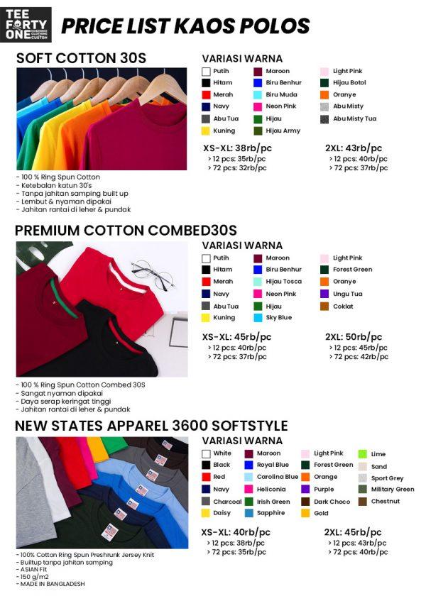 Price List Kaos Polos