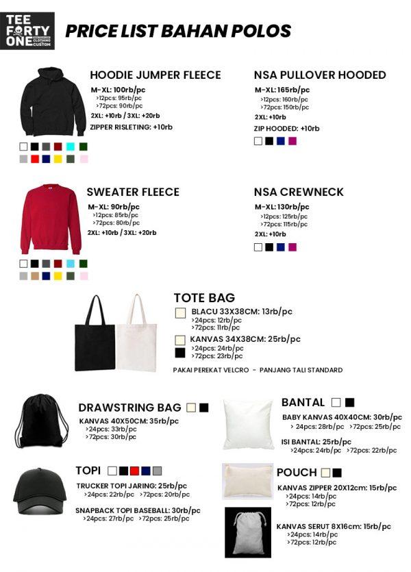 Price List Bahan Jaket Totebag